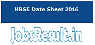 HBSE Date Sheet 2016