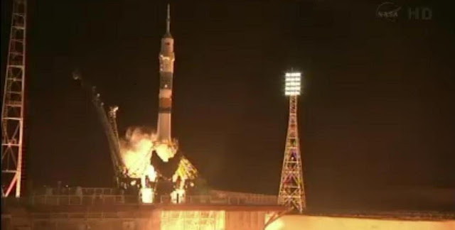 The Soyuz TMA-08 spacecraft launches from the Baikonur Cosmodrome in Kazakhstan. Photo credit: NASA TV