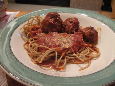 spaghetti with bacon meatballs