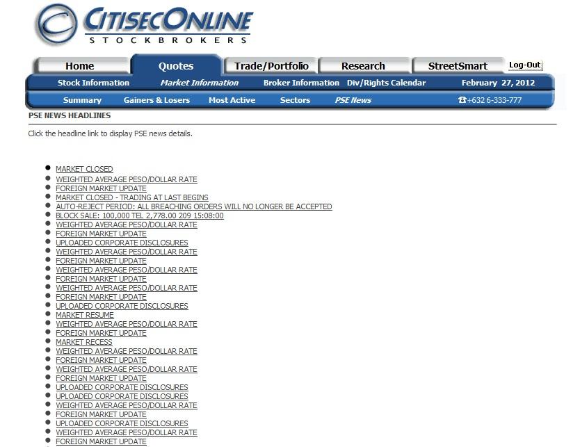 Online stock broker pse