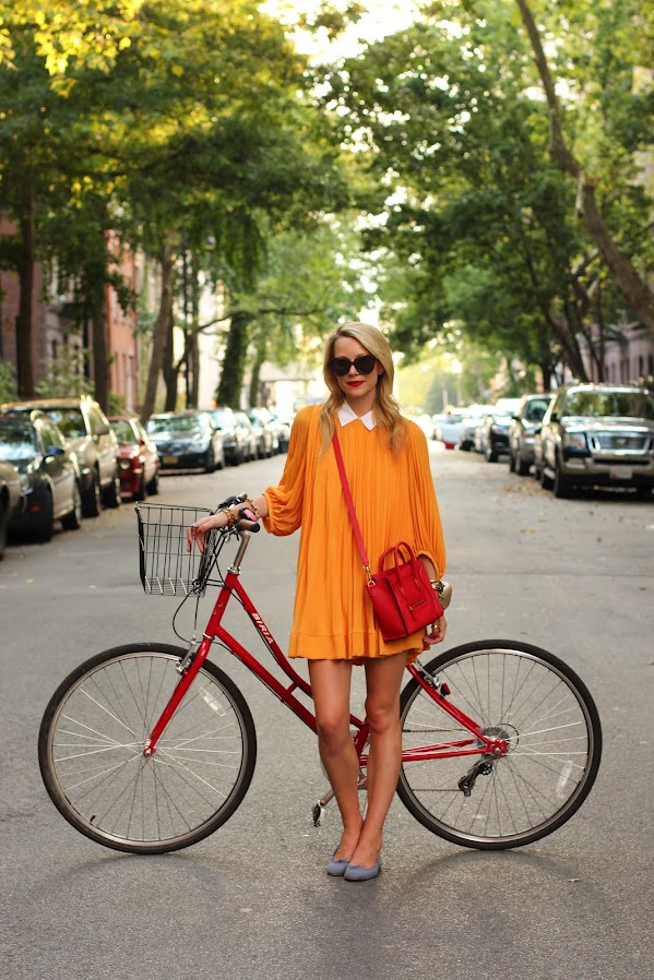 atlantic pacific bike dress orange H&M flats celine