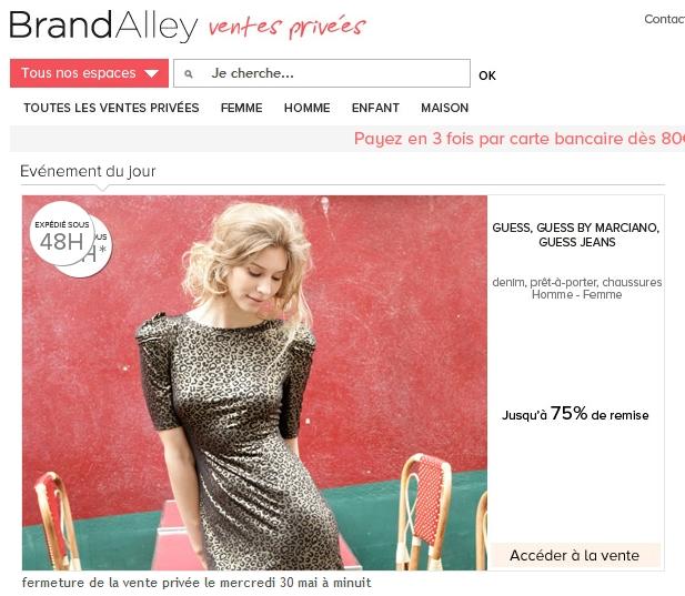 Sur BrandAlley: ventes privées Guess jusqu'à 75% de remise bon plan guess promo guess