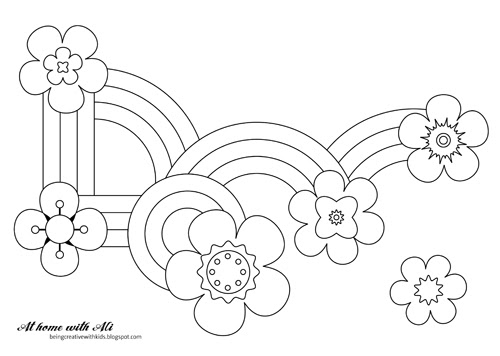 At Home With Ali Flowers And Rainbows Colouring Sheet