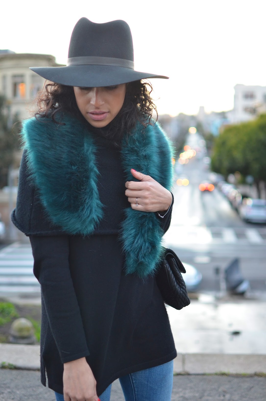 Allergic To Vanilla, Faux fur wrap missguided, green faux fur, fur stole, Janessa Leone fedora, Blank NYC denim, J. Crew Valentina heels, Bally Chain bag, short sweater cape