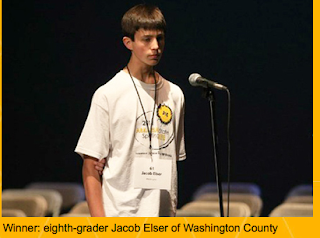 picture of boy at spelling bee