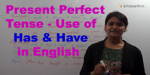 Present Perfect Tense - Use of Has & Have in English