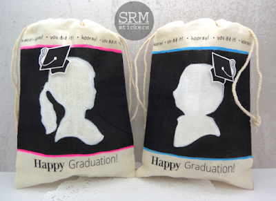 SRM Stickers Blog - Graduation Chalked Muslin Bags by Annette -#chalkboard #blackboard #markers #muslinbags #stickers #graduation #favor #giftbag #DIY