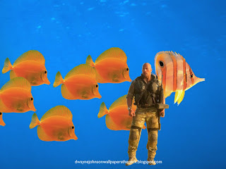 Dwayne Johnson Wallpapers Movie actor The Rock in Desert Uniform Clothing in Aquarium with Fishes wallpaper