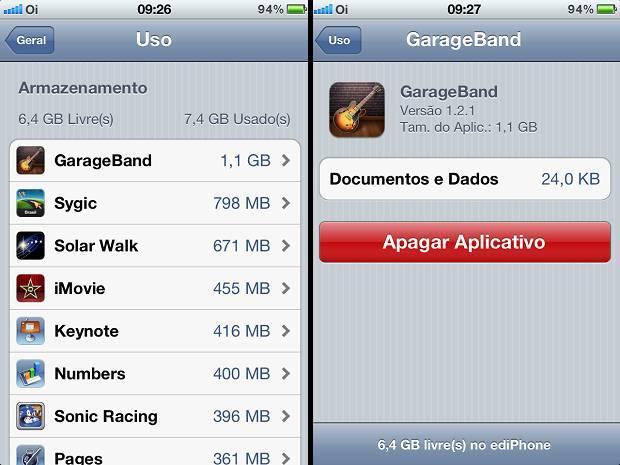 Apagando as aplicações no iphone para deixá-lo mais rápido