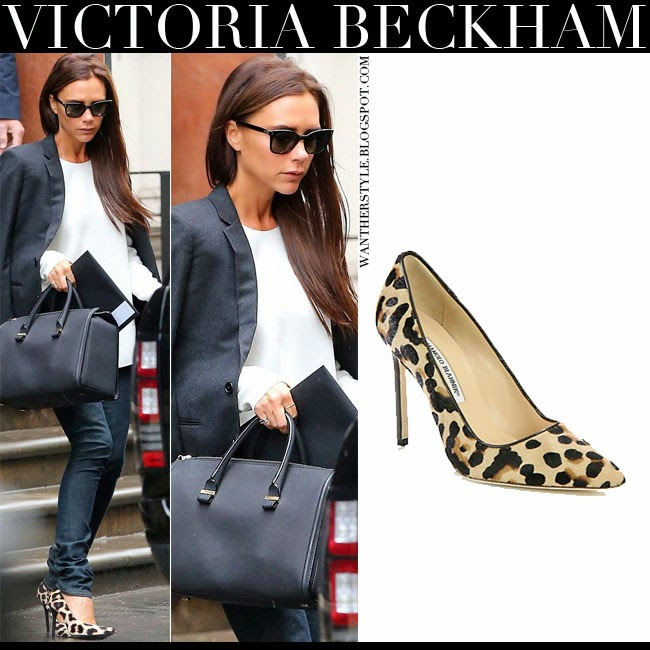 Victoria Beckham in leopard print pumps Manolo Blahnik BB August 14 2014 Want Her Style