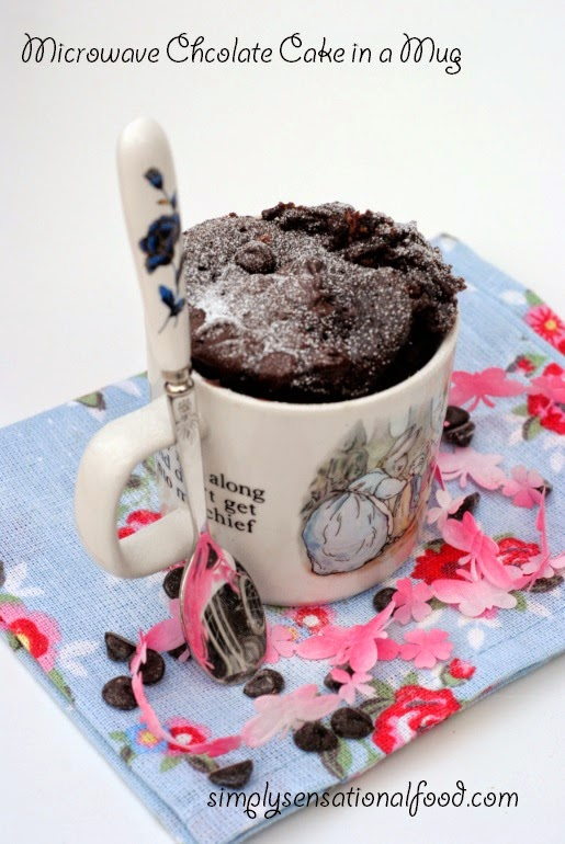 Featured Recipe: Microwave Chocolate Cake in a Mug from Simply.Food #SecretRecipeClub #dessert #chocolate #mugcake