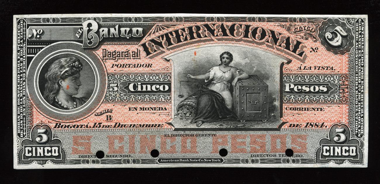 Colombia 5 pesos banknote banco internacional 1884 for Banco internacional