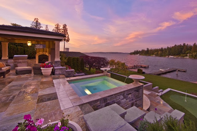 modern lake house pool