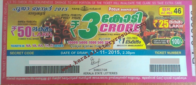 Pooja Bumper 2015 BR-46 Kerala Lottery Prize Structure