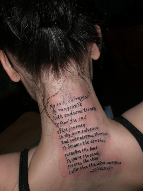 Tattoo designs cool and good tattoo quotes design for Back tattoos for girls quotes