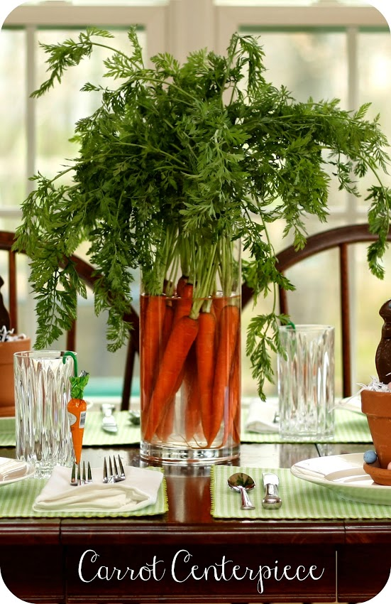 Long stem carrot Easter centerpiece