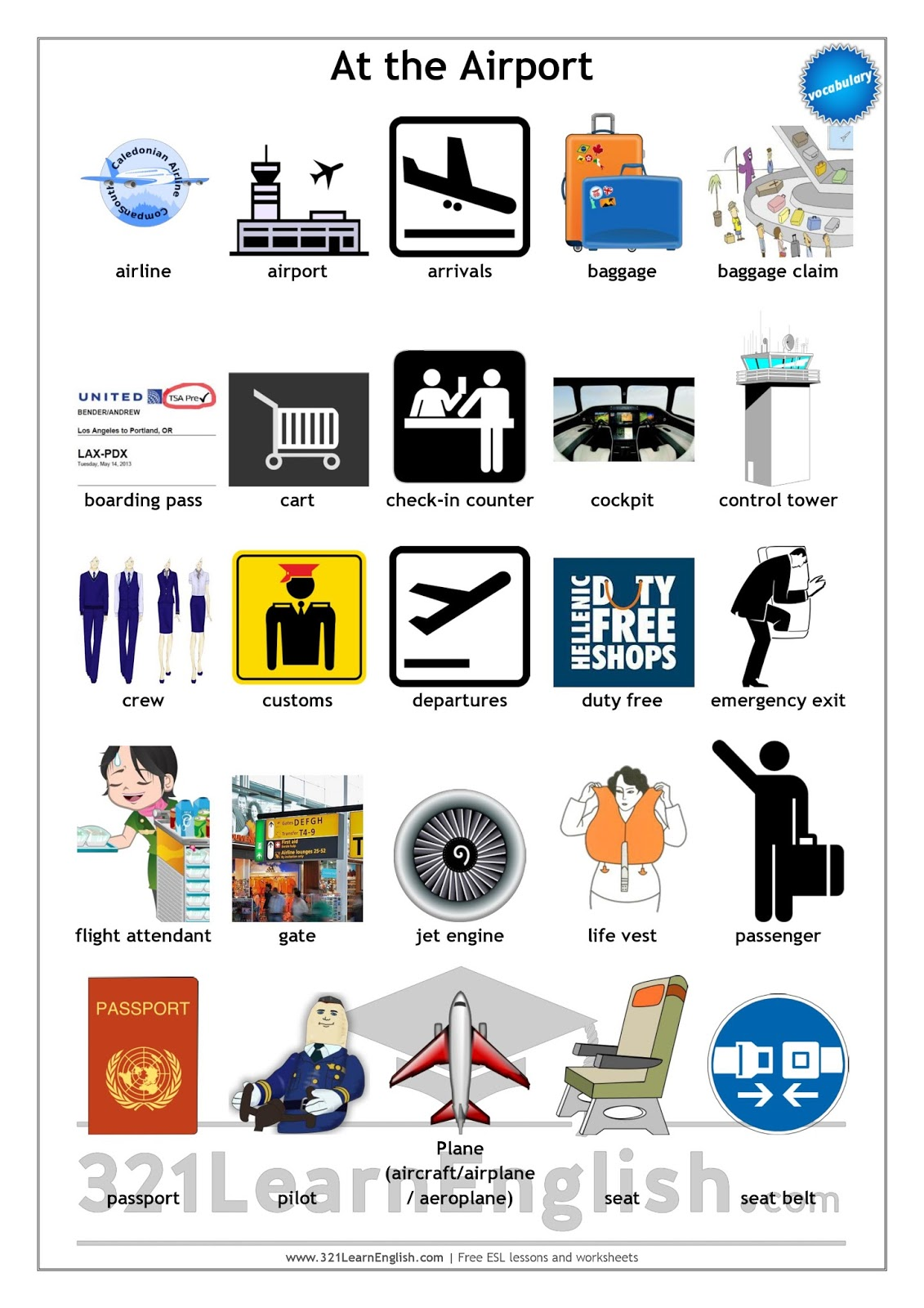 Esl Vocabulary Worksheets : Learn english vocabulary at the airport level b
