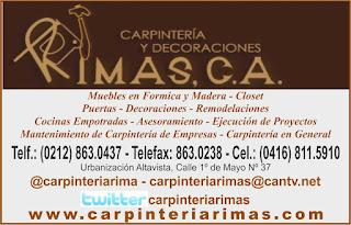 CARPINTERIA Y DECORACIONES RIMAS, C.A. en Paginas Amarillas tu guia Comercial