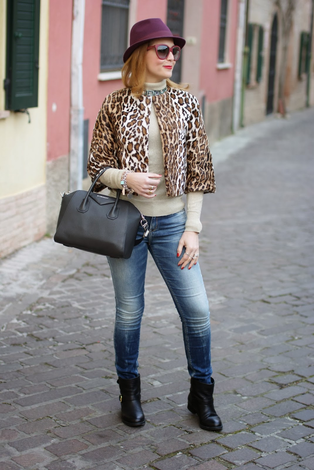 short leopard print furry jacket, carmens padova biker boots, Nora barth jacket, Givenchy Antigona, Fashion and Cookies, fashion blogger