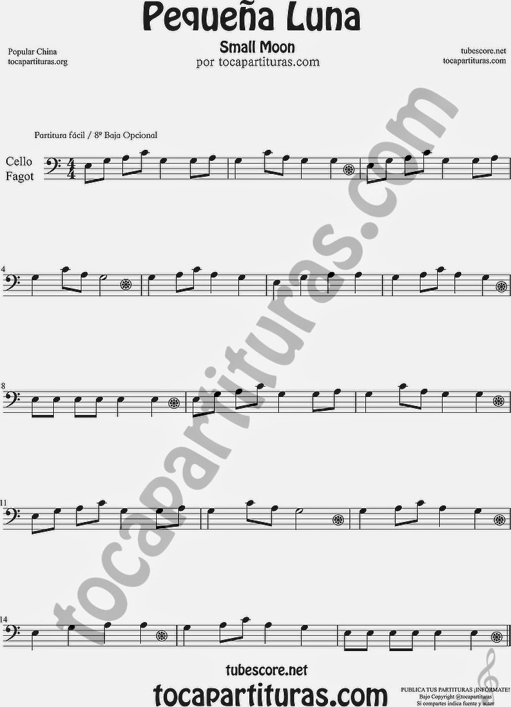 8ª Alta Pequeña Luna Partitura de Violonchelo y Fagot Sheet Music for Cello and Bassoon Music Scores Popular China Small Moon 方便兒童歌曲樂譜小月亮流行民歌在中國大提琴大管