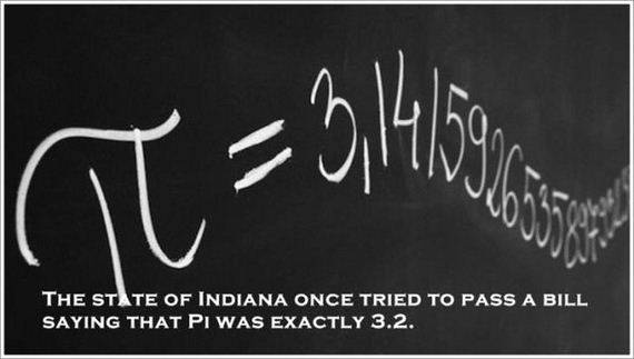 THE STATE OF INDIANA ONCE TRIED TO PASS A BILL SAYING THAT PI WAS EXACTLY 3.2.