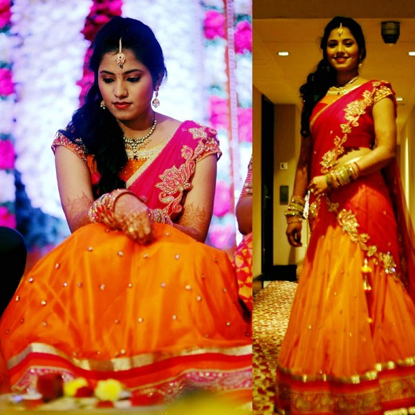 Bride in Pink Orange Half Sari by Mugdha