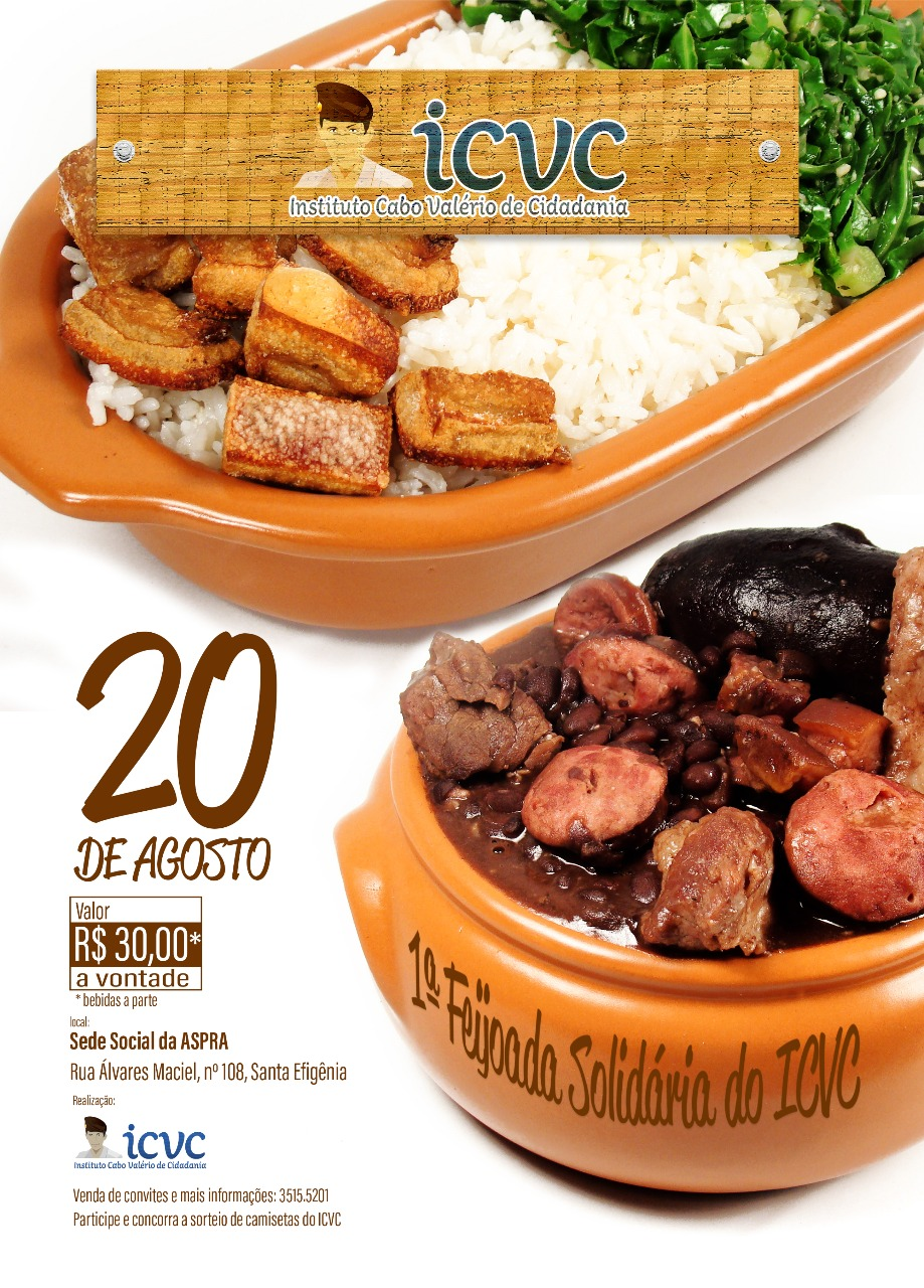 Feijoada solidária em prol do Instituto Cabo Valério - Local: Sede Social da ASPRA