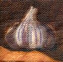 Small oil painting of a white and purple garlic bulb.