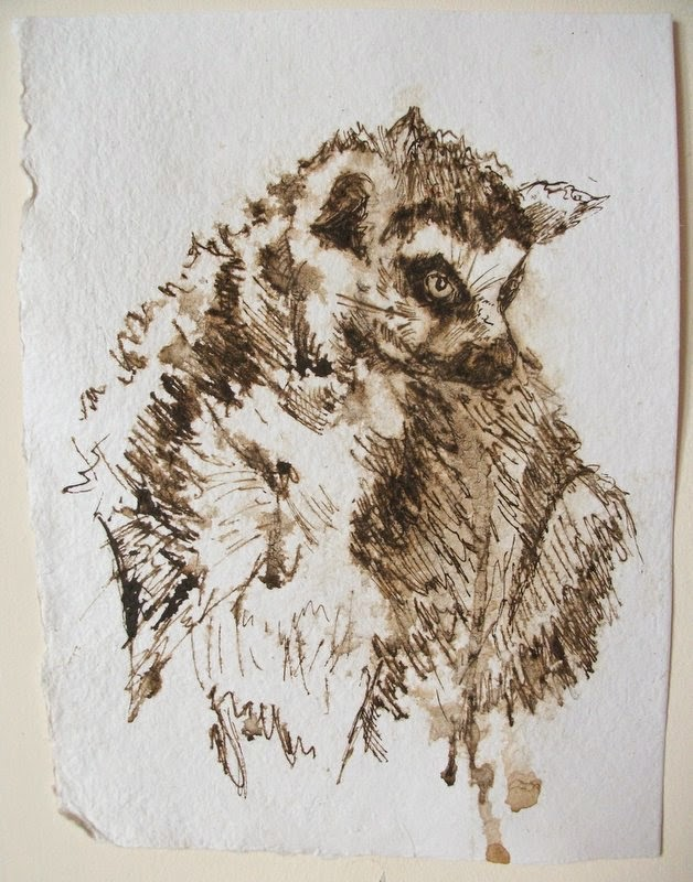 Ink sketch ring tailed lemur on Eco handmade paper