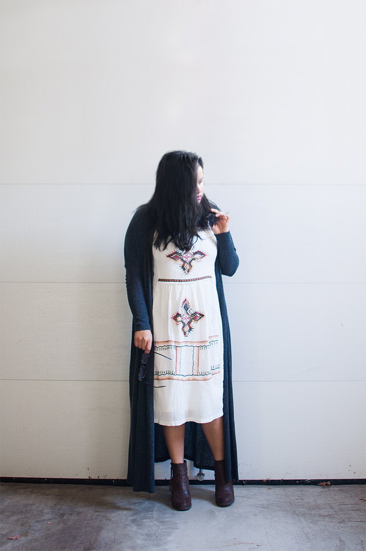 zara midi dress, boho fall style