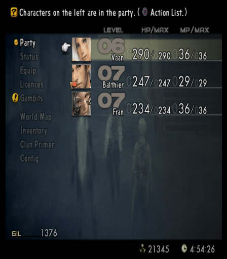 Final Fantasy XII menu screen