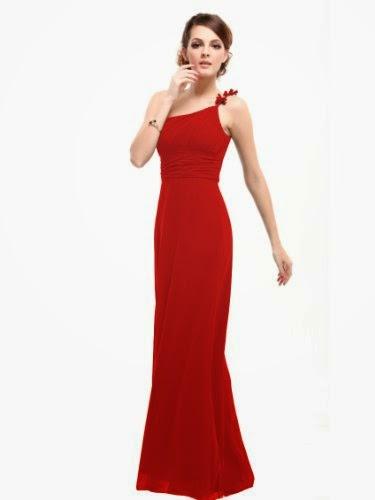 Pretty Flower Ruffles One Shoulder Empire Line Formal Dress