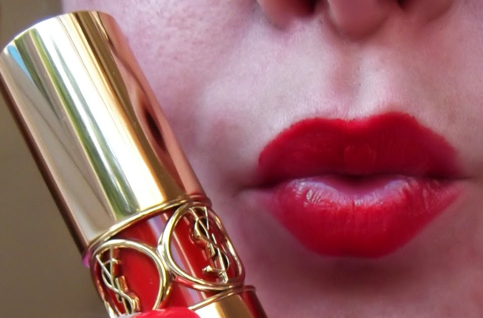 YSL Rouge Volupte Silky Lipstick in shade #17 'Rouge Muse' - Red Muse review swatch