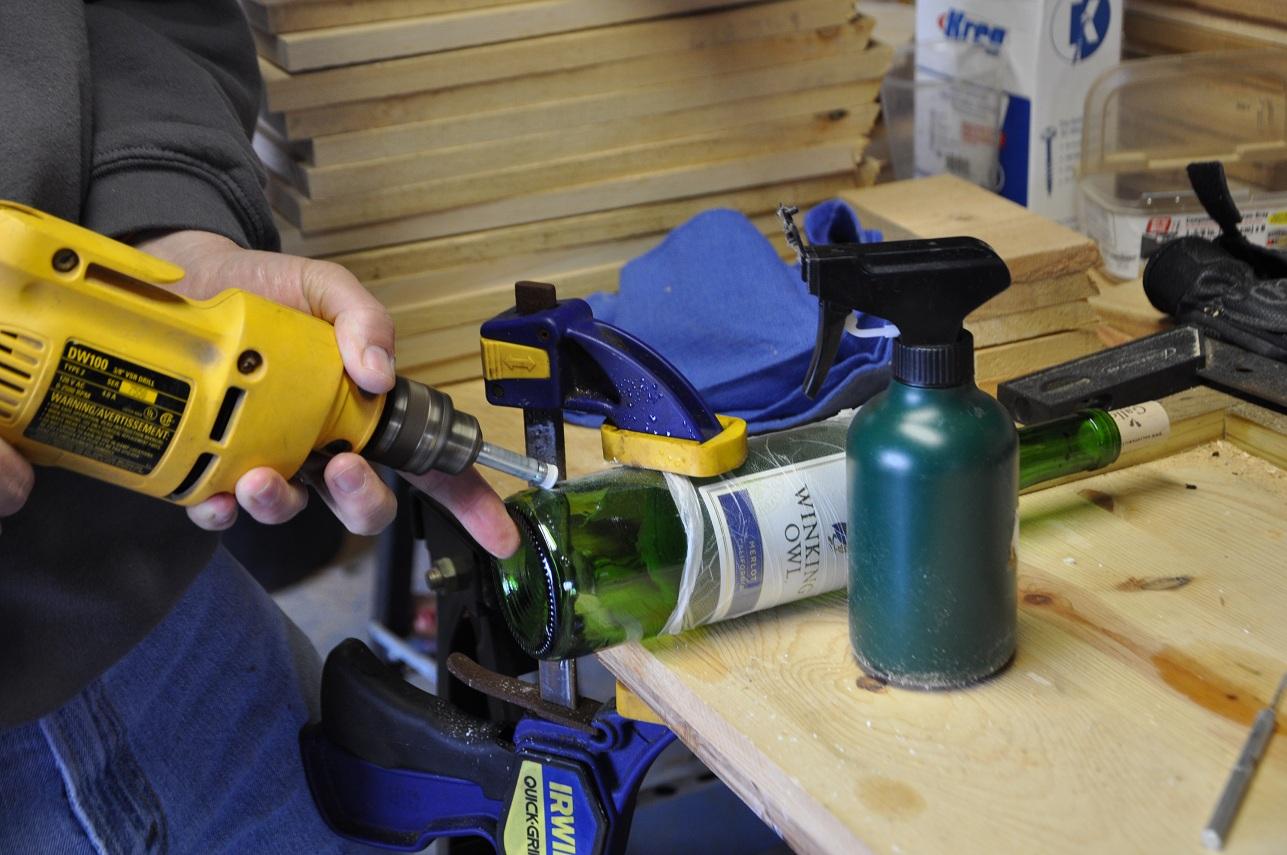 Rebecca 39 s bird gardens blog diy wine bottle bird feeders for Best way to drill glass bottle