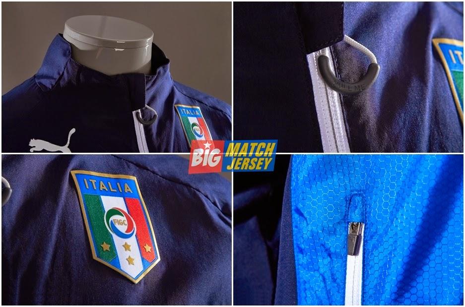 Detail Jaket Bola Grade Ori Italia Terbaru Warna Biru Kombinasi Hitam