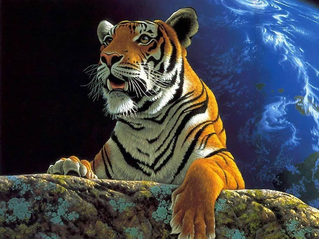 espectacular fondo de pantalla de un tigre con el mundo atras exelente ...
