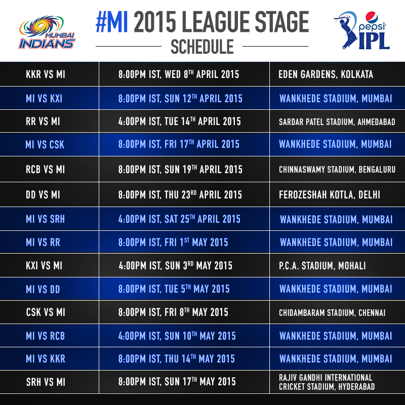 Www 2016 Ipl Time Table | Calendar Template 2016