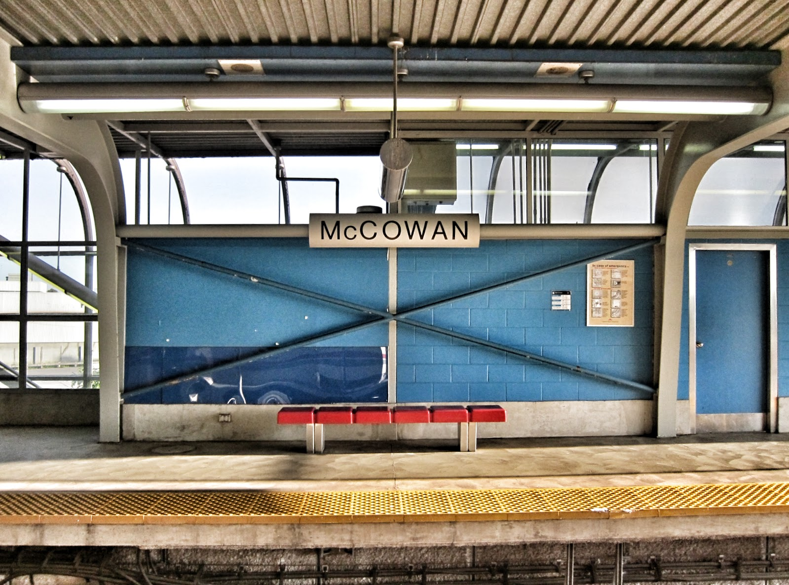 Unused platform and bench at McCowan station