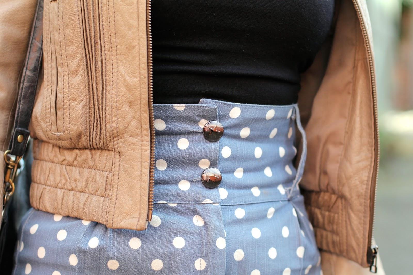 Collectif denim polka dot pencil skirt