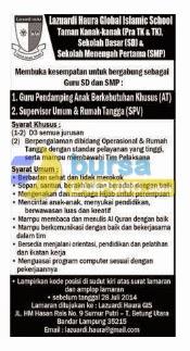 Lowongan Kerja Lampung Lazuardi Haura Global Islamic School 20 Juli 2014