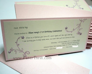 Pink Cherry blossom handmade wedding invitation card