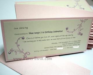 Pink Cherry blossom handmade wedding invitation card