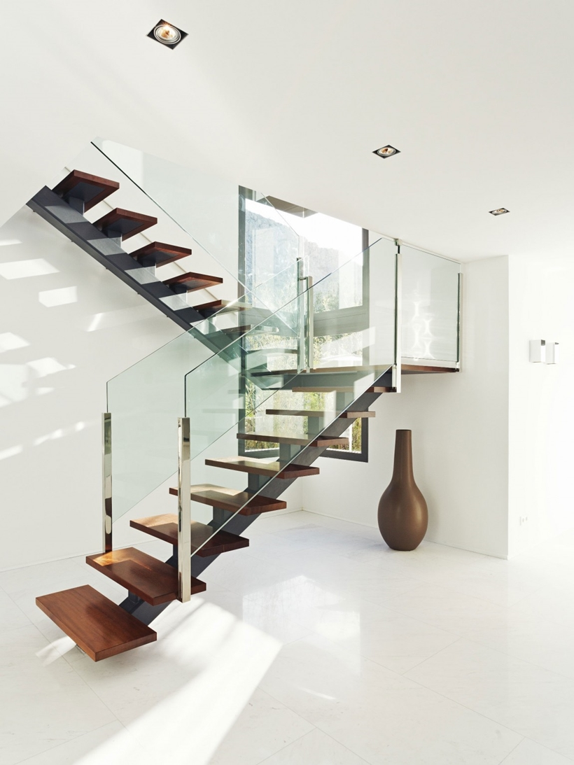 Modern wood and glass stairs