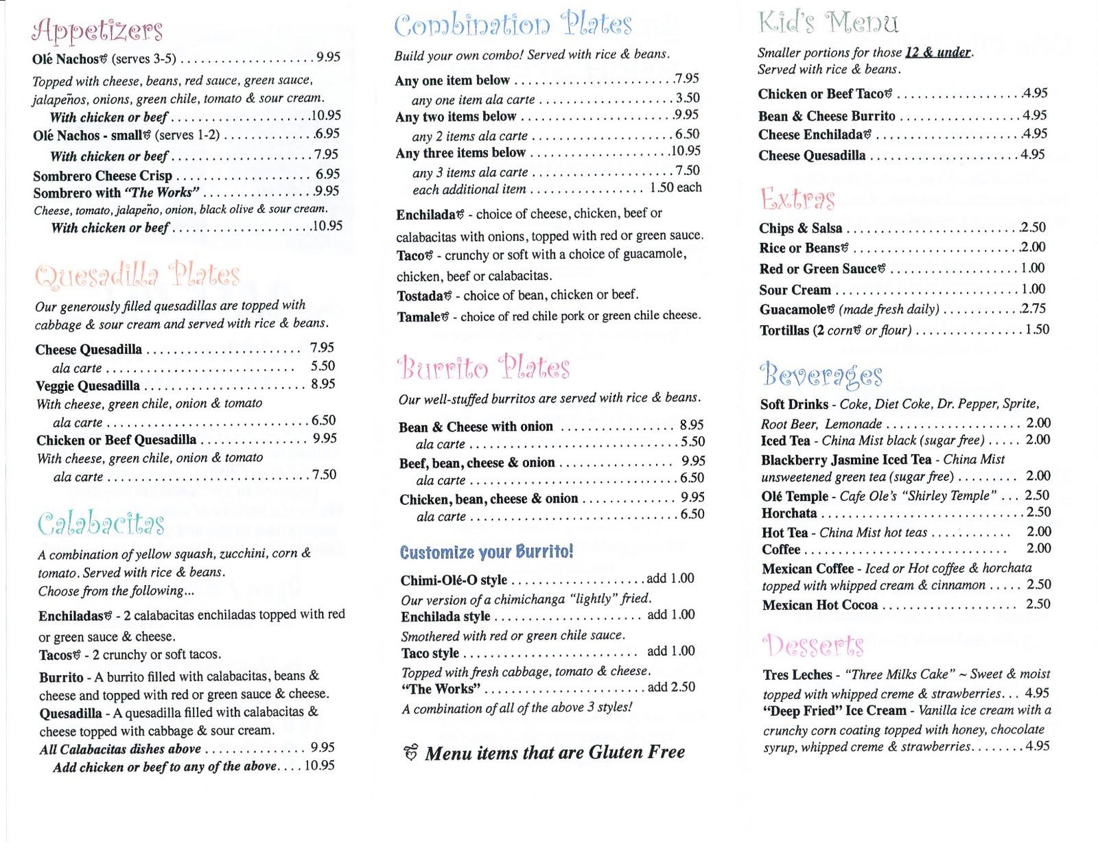 Out West Food Review Cafe Ole Flagstaff AZ menu