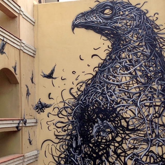 """Chinese Street Artist DALeast Paints A new mural in Malaga For """"Maus Malaga"""" Urban Art Event. 1"""