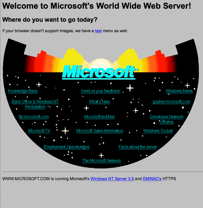 Microsoft recreates their 1994 website