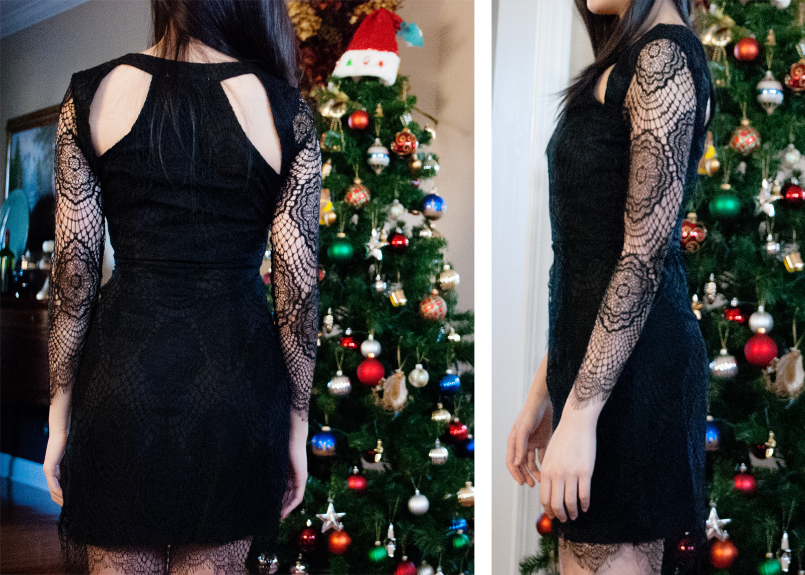 Back and side views of SheInside's black lace crochet cutout bodycon dress.