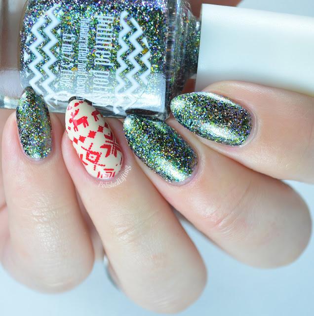 Christmas sweater nail art using Zoya Jacqueline, Sally Hansen Insta Dri Rapid Red, Painted Polish Enchantress