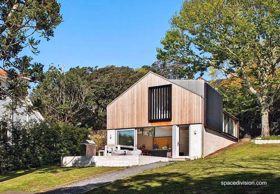 Perspectiva de un garaje reciclado como casa unifamiliar en Nueva Zelanda