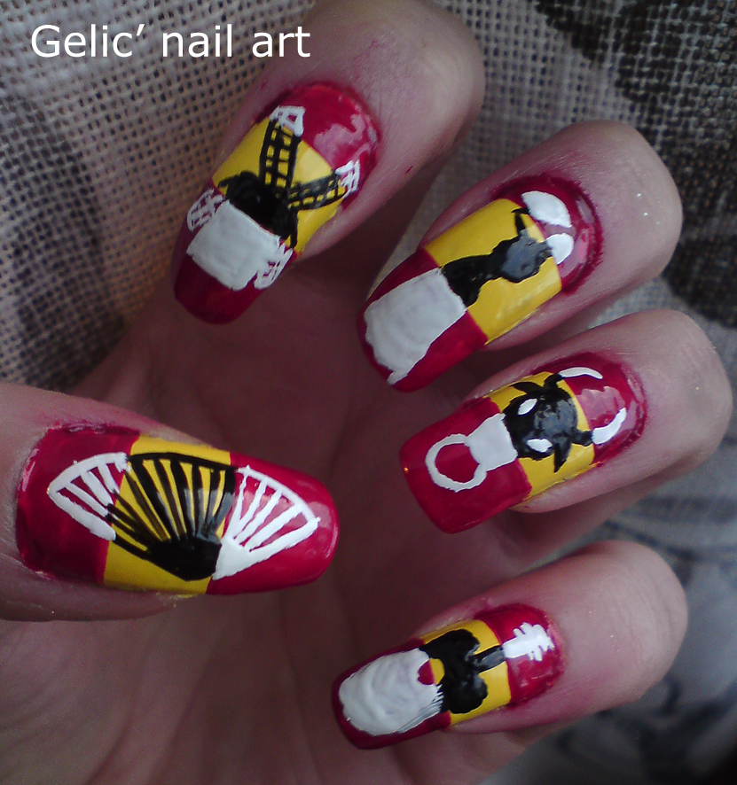 Gelic nail art spanish inverted black and white symbols if it isnt obvious from the photos the thumb has a fan and my index finger has a windmill weirdly i think more of the netherlands when i think of prinsesfo Gallery